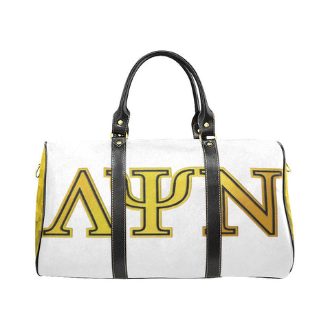 Lambda Psi Nu LPN White & Gold Travel Duffel Bag - Reflections By Zana