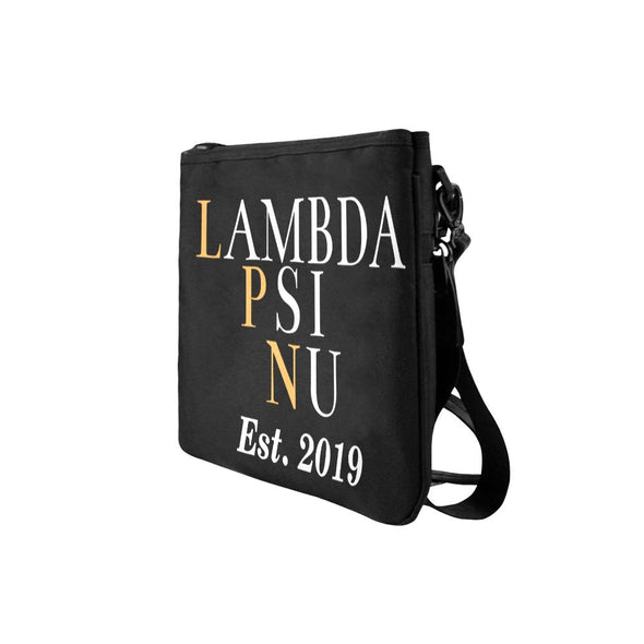 Lambda Psi Nu LPN Slim Clutch Black Bag - Reflections By Zana