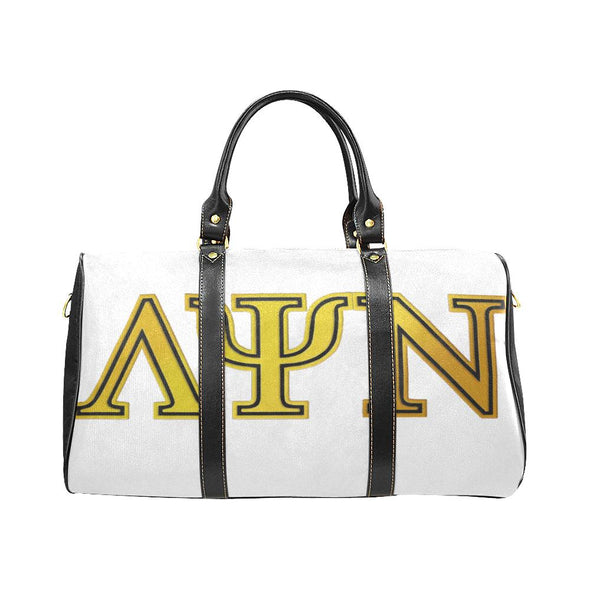 Classic Lambda Psi Nu LPN White & Black Travel Duffel Bag - Reflections By Zana
