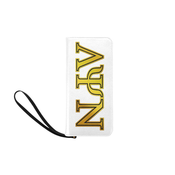 Lambda Psi Nu LPN White Clutch Wallet - Reflections By Zana