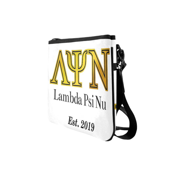 Classic Lambda Psi Nu LPN White Slim Clutch Bag - Est 2019 - Reflections By Zana