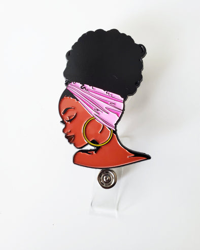 Pink Afro Bun ID Badge Retractable for work travel, Fun gifts Natural hairstyles Enamel - Reflections By Zana