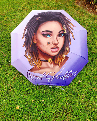 OPEN BOX Purple Loc'd Queen Fully Automatic Compact Umbrella *Bundle Option
