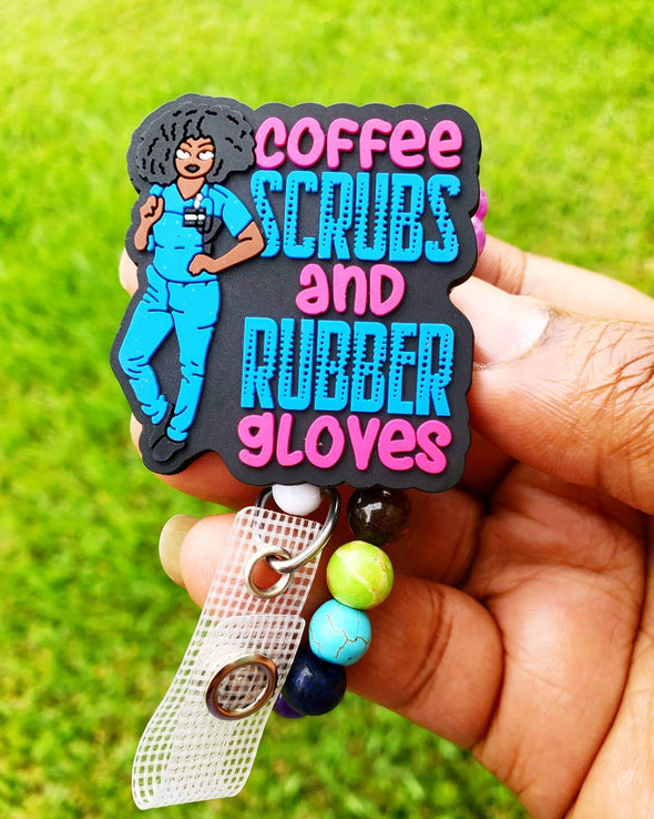 """Coffee Scrubs & Rubber Gloves"" Pink & Blue Healthcare Worker ID Badge"