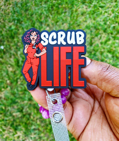 Red & White 'Scrub Life' Healthcare Worker ID Badge