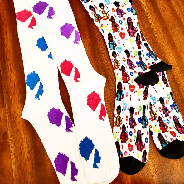 Healthcare Cuties & Classic* RBZ White Pink Purple Blue Compression Sock Bundle