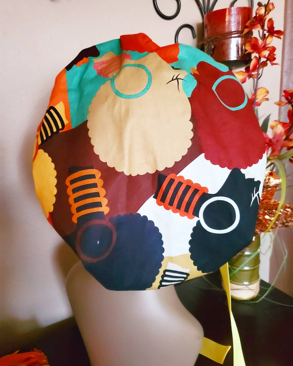 Earthy Afro Cuties Yellow & Orange Bouffant Surgical Scrub Cap/Hat with Ribbon Tie