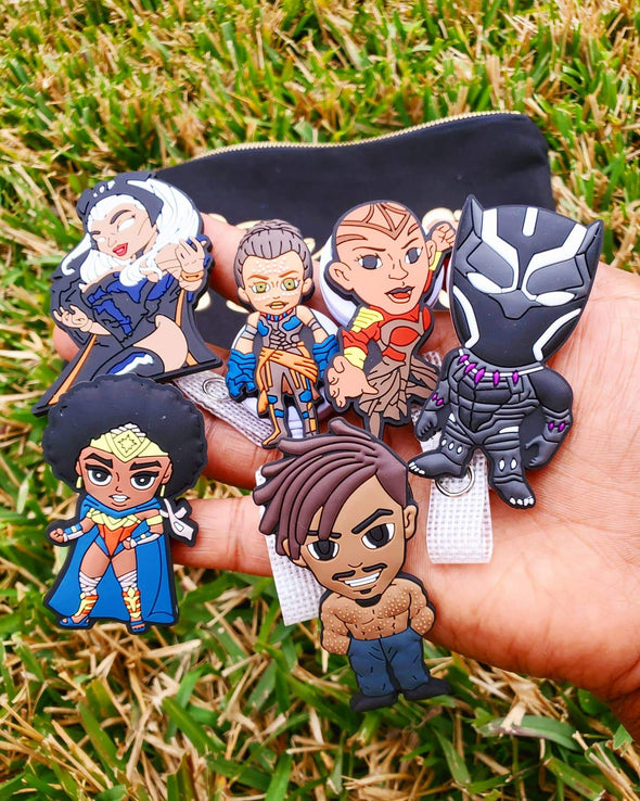 'The Blackening' 6 All-Black Superhero ID Badge Bundle with 'Badge Stash' zipper carry bag