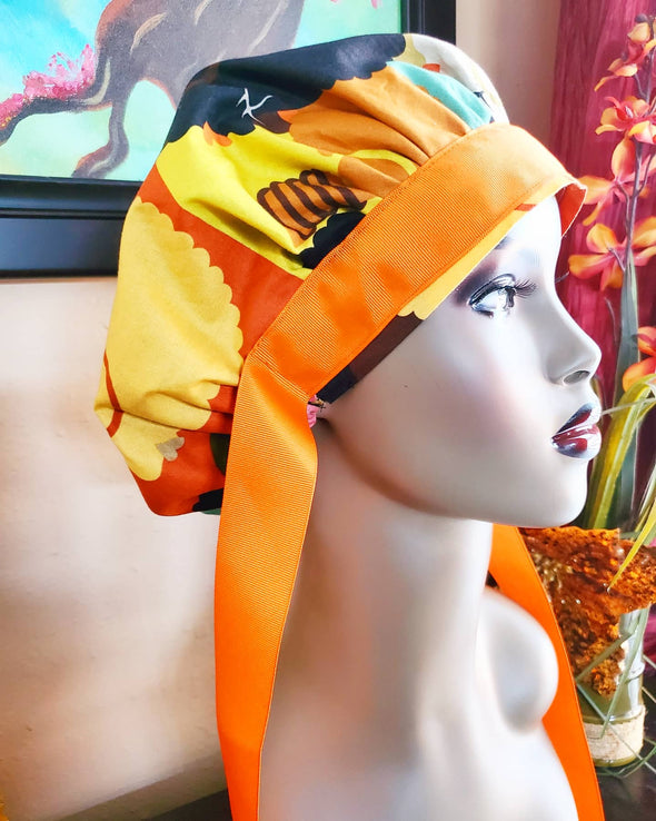Earthy Afro Cuties Orange Bouffant Surgical Scrub Cap/Hat with Satin Lining & Ribbon Tie