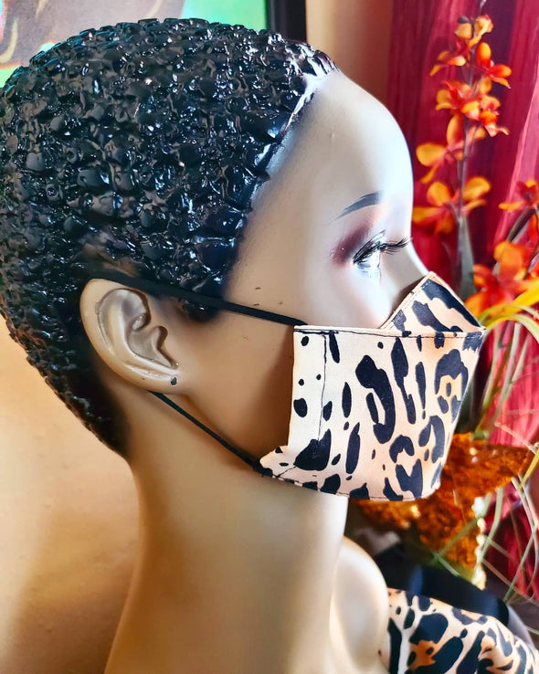 Leopard Print 3D Hand Sewn Pocket Face Mask
