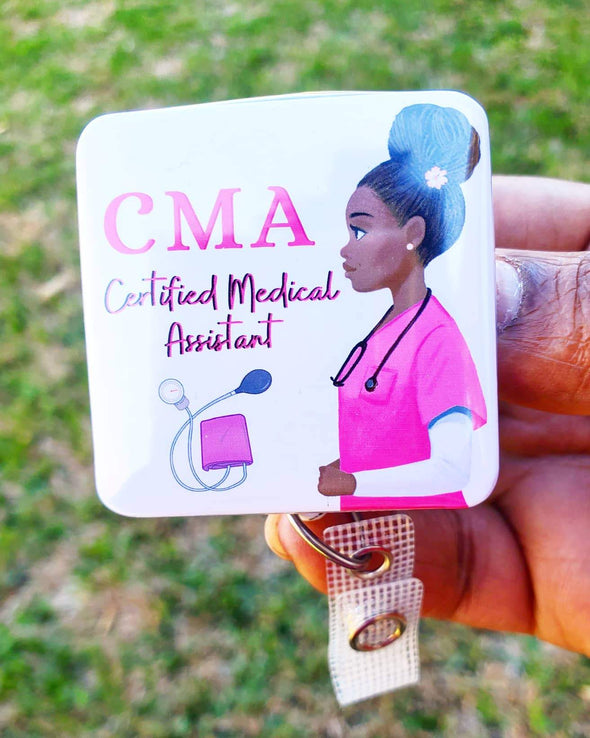 CMA Certified Medical Assistant Pink ID Retractable Badge Holder