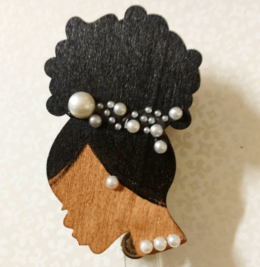 Cascading Pearls Afro Silhouette Clear Rhinestone Cluster Retractable ID BADGE Reel
