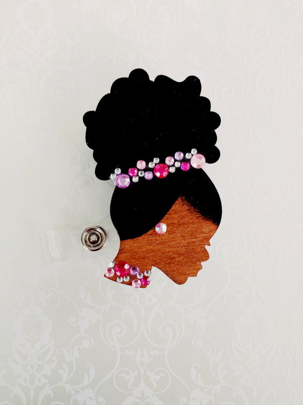 Pink Rhinestone ID Badge Reel Pin Earrings Bundle RN LPN Lvn Md Retractable Painted Afro Wood Nurse black American Work Bridal Gift - Reflections By Zana