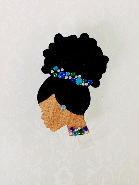 Blue Rhinestone Cluster Retractable ID Badge - Reflections By Zana