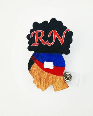 Haitian Flag ID Wood Badge Reel RN LPN LVN MD - Reflections By Zana