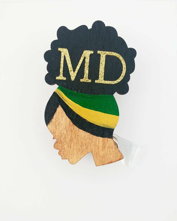 Jamaican Flag FEATURE ID Wood Badge Reel RN Lpn Lvn Md Retractable Afro Black Nurse Doctor Work New grad gift - Reflections By Zana