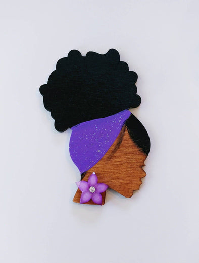 Purple ID Badge Reel RN LPN Lvn Md Retractable Holder Painted Afro Wood Flowers Custom Nurse black American Work Office Gift - Reflections By Zana