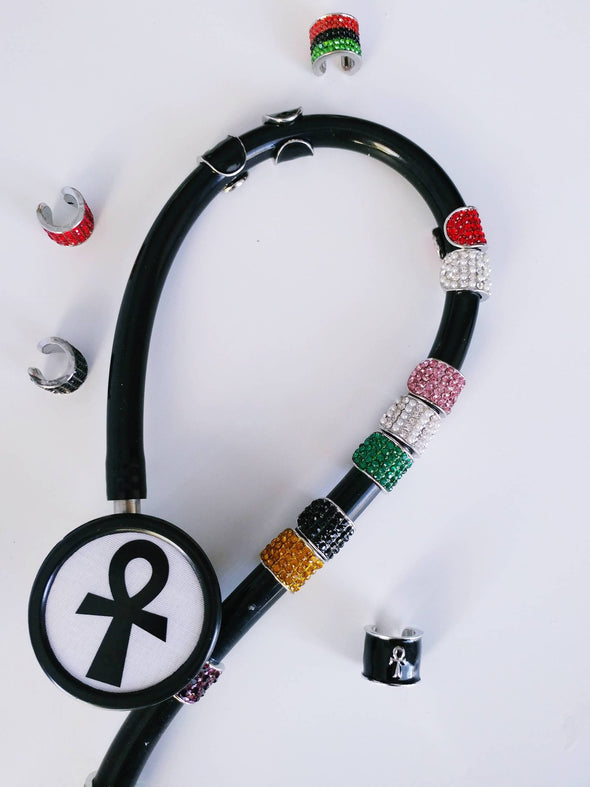 Studded RN All Rhinestone Stethoscope Charms Gift for Graduate Nurse MD Respiratory Therapist School - Reflections By Zana