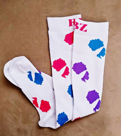 NEW* Classic* RBZ White Pink Purple Blue Compression Socks 10-15mmHg Nursing Running Travel - Reflections By Zana