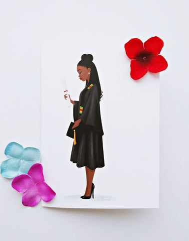 DIY Framable 5x7 Graduate Greeting Card - Locs/Braids - Reflections By Zana