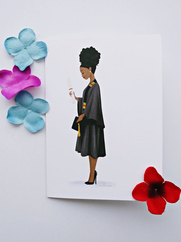 DIY Framable 5x7 Graduate Greeting Card - Afro Bun - Reflections By Zana