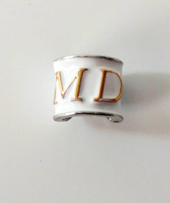 NEW White Enamel MD title  Stethoscope Charms Graduate Gift for MD Physician Med School Ceremony - Reflections By Zana