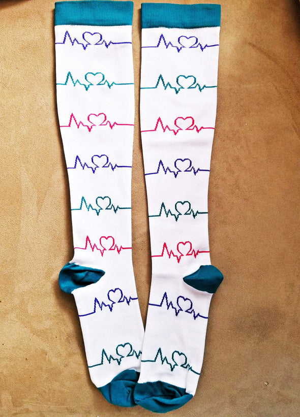 White & Turquoise ECG with hearts Compression Socks for Nursing Running Travel Post Surgery 15-25mm Hg - Reflections By Zana