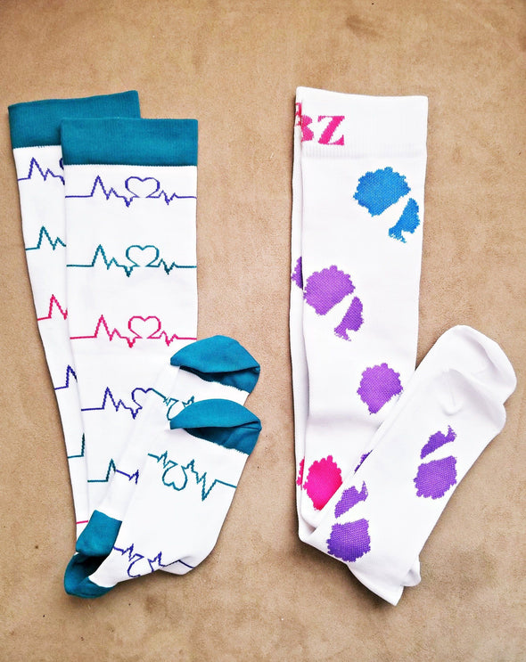Gift Set 2 pair of Compression socks RBZ and ECG Bundle for Nursing Running Travel Post Surgery - Reflections By Zana
