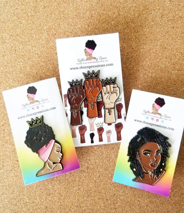 Enamel Pins Trio of 3 Designs #Blessed, Queens Stand Up! and Loc'd Goddess - Reflections By Zana