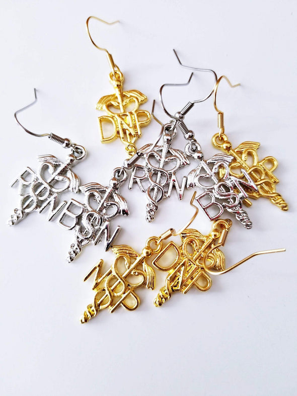 RN Nurse Earrings gift set Assorted Nurse Practitioner, BSN, DNP in Gold and Silver Mix & Match - Reflections By Zana