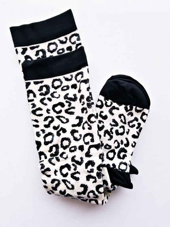 Animal print Socks 15-25mm Hg Compression Black and White for  Nursing Running Travel or Post Surgical - Reflections By Zana