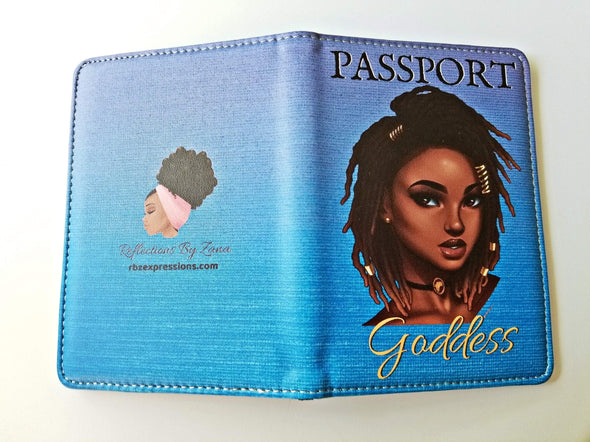Ocean Blue Passport Cover with Loc'd Goddess - Reflections By Zana