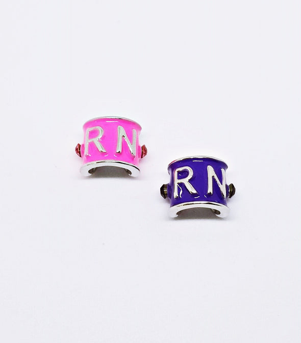 Pink or Purple Studded RN Rhinestone Stethoscope Charms - Reflections By Zana