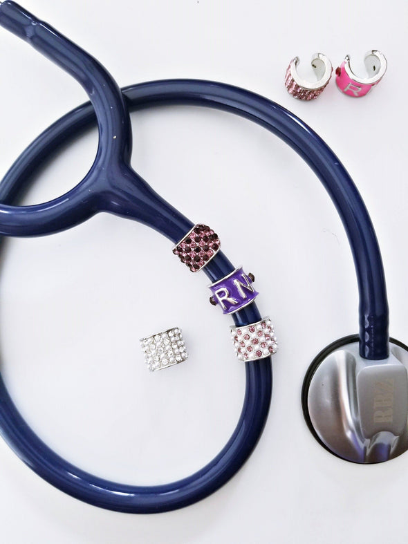 Purple RN Charm with Rhinestone Bundles for Stethoscope as Gift for Graduate Registered Nurse - Reflections By Zana