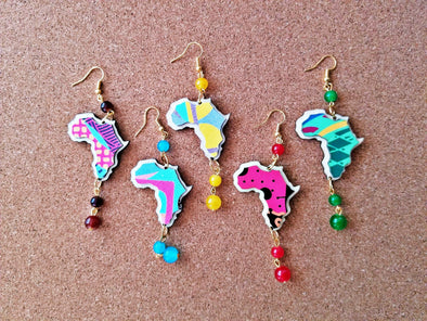 Colorful Africa Earrings Wooden with colored beads Choose 5 designs Statement Jewelry African American Art Black Pride Gifts