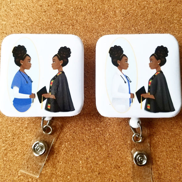 Nursing or Grad Student ID Badge Holder  & Compression Socks Bundle - Reflections By Zana