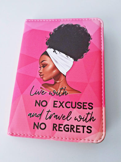 "Pink Passport Cover 'Travel with no Regrets"" with White Head wrap Natural Hair African American Black art Full color Travel gift - Reflections By Zana"