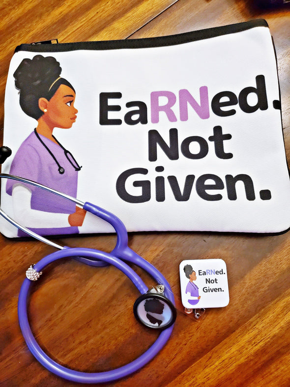 Purple EaRNed Not Given Badge and Bag Bundle for Nurse Gift - Reflections By Zana