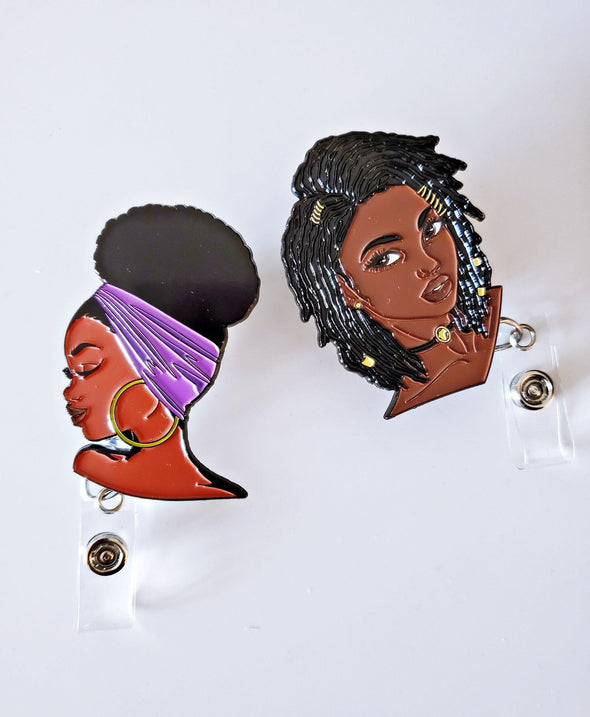 Purple Loc Bun ID Set of 2 Retractable badges for work travel, Fun gifts Natural hairstyles Enamel - Reflections By Zana