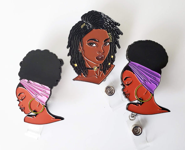Trio of Loc'd Girl Purple and Pink ID Retractable badges for work - Reflections By Zana