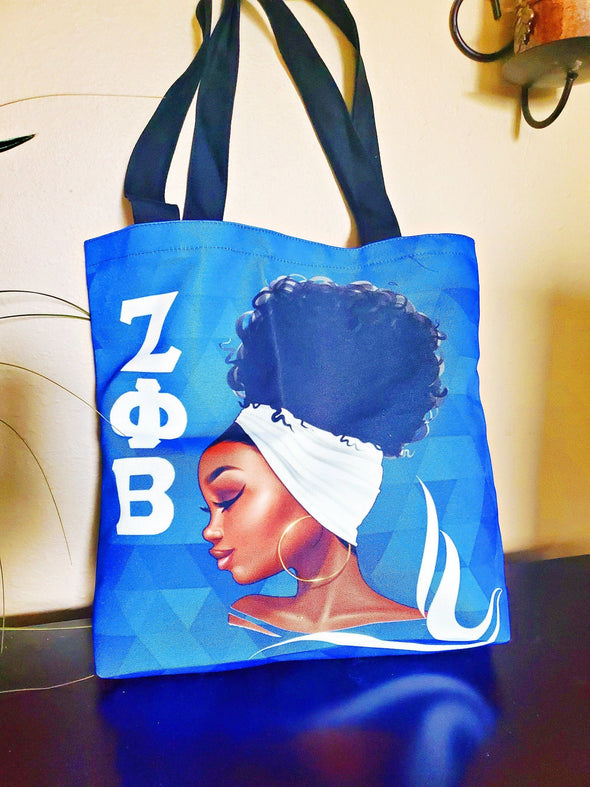 Zeta Phi Beta Tote Bag Natural Hair African American Black Art - Reflections By Zana