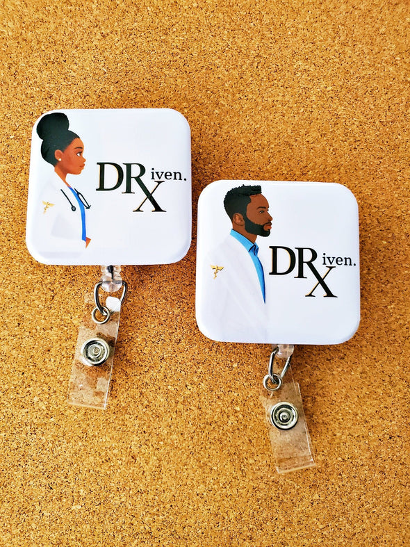 Pharmacist DRiven ID Badge Reel with Man and Woman Design - Reflections By Zana