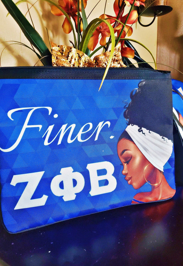 Zeta Phi Beta Slim Crossbody Bag and Deluxe Custom Matching Purse Strap - Reflections By Zana