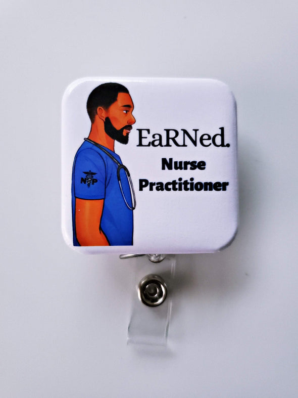 Male Nurse/ Nurse Practitioner ID Badge and EaRNed. Retractable Badge RN Advanced Practice Registered Nurse Grad gift - Reflections By Zana