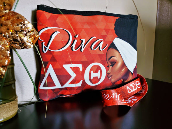 Delta Sigma Theta DST Slim Crossbody Bag and Deluxe Adjustable Matching Purse Strap - Reflections By Zana