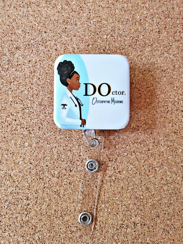 DOctor. Retractable ID Badge Black Women or Man Design for Physician - Osteopathic Medicine - Reflections By Zana