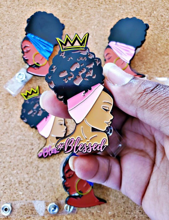 Blessed Pink Blessed Afro Bun Enamel ID Badge Retractable