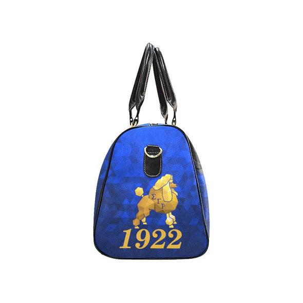 Rhoyal Blue Poodle Adorned Sigma Gamma Rho Travel Bag - Reflections By Zana