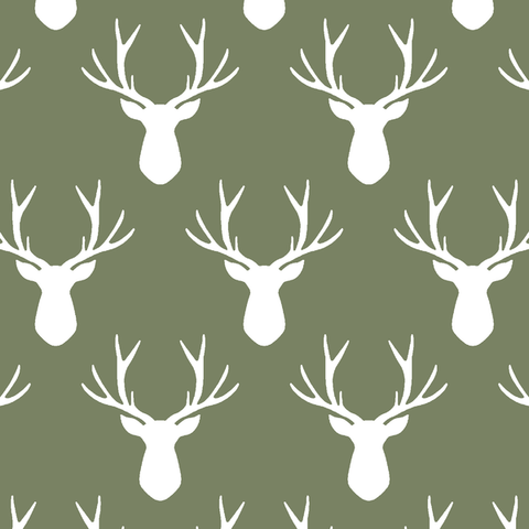 Stag Silhouette Crib Sheet in Olive