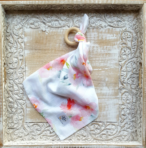 Double Gauze Security Blanket In Floral Bloom - Sweet Little Baby Cakes